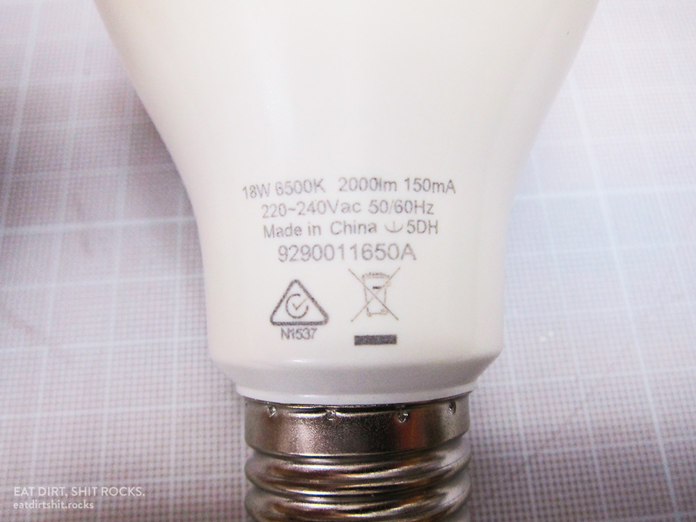 Markings on the base of this bulb.