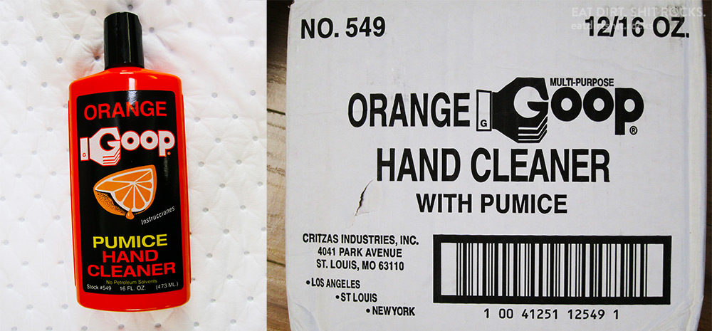 One of my four bottles of ORANGE GOOP PUMICE HAND CLEANER and the box the Taobao merchant used to ship them to me.