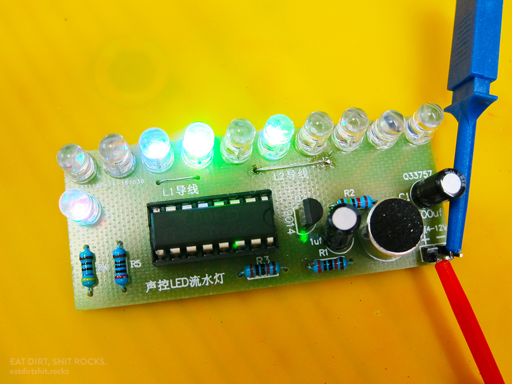 Allegedly, a sound meter, but if you want to see those LEDs dance, however, you'll have to tap on the electret mic.