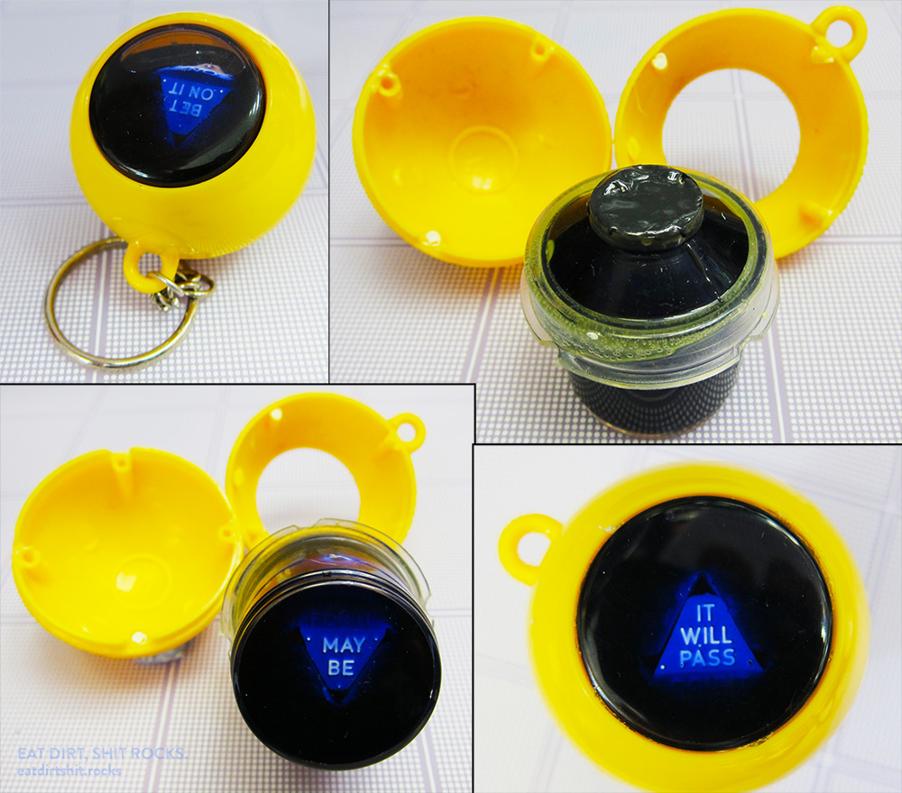 Before and after photos of a miniature, keychain-sized Magic 8-Ball that needed to have its blue-ink-water reservoir topped up.