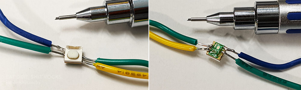 Images of the button with the business end of a mechanical pencil for scale.