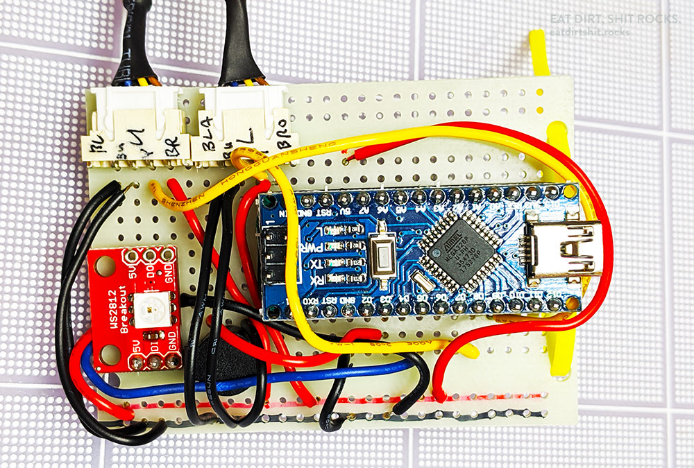 Everything is soldered to a breadboard-like protoboard, except the Nano, which I snapped into a socket which I'd soldered to the board.